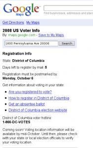Sidebar of voter registration info from GoogleMaps.com/vote